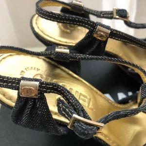 CHANEL Shoes - 🆕 Chanel CC Denim sandals heels 💃🏻
